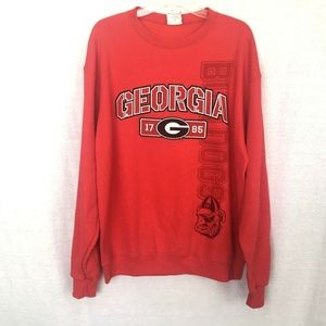 Univ of Georgia Bulldogs Red Pullover Sweatshirt L